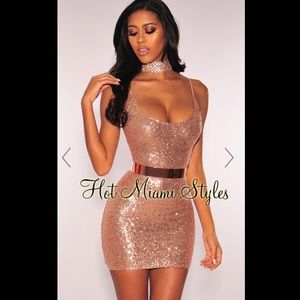 Rose Gold Sequins Spaghetti Straps Dress with Belt